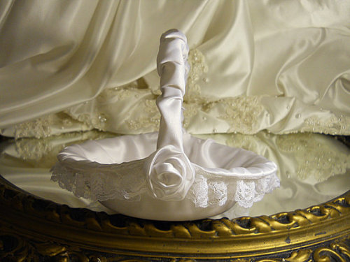 White Satin Flower Girl Basket handmade of white satin and lace.