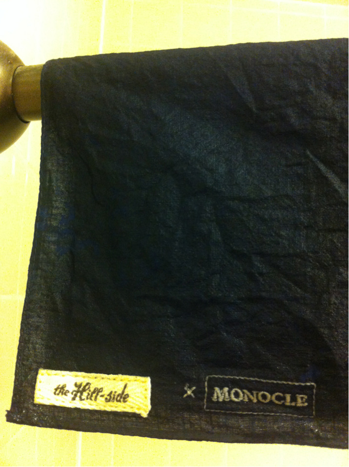 The Hill-Side x Monocle Pocket Square After a few wears folded up and artfully placed in the back left pocket of my various 501s (I know, I need to diversify my denimz) pocket squares start getting some serious creases.  The simple solution:  Wash the damn thing.  Add water, snap out the excess, and hand to dry.  My shower curtain rod does just fine.  The fabric ends up wrinkled overall, but loses most of those hard lines from being sat on.  Repeat the process and you'll end up with a softer square to lightly dab the sweat from your brow after an energetic jog up a half flight of subway stairs.