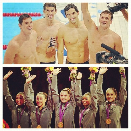 #picstitch #teamUSA #gymnastics #swimming #fab5 #phelps #goldmedals (Taken with Instagram)