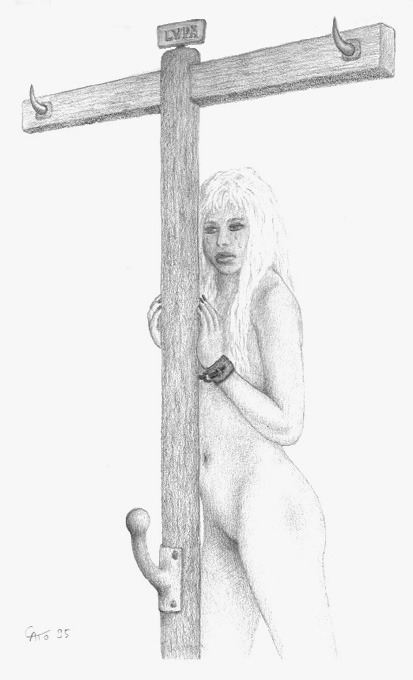 Lvpa by Cato.  A Roman prostitute awaits her punishment.