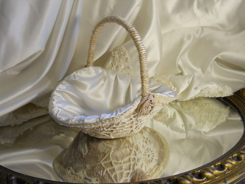 Vintage Flower Girl Basket handmade of vintage lace, crochet and ivory satin.
