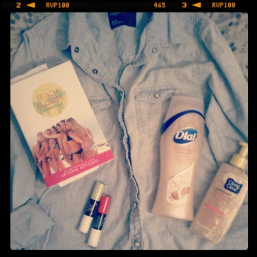 #summershopping #neon #polish #jeanshirt #beachblondes #book #bathroomstuff (Taken with Instagram)