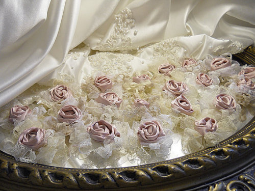 Bulk Flowers, Lot of 20 Beautiful Vintage Lace Rosette Flower Bows handmade of Vintage Lace and Blush Satin