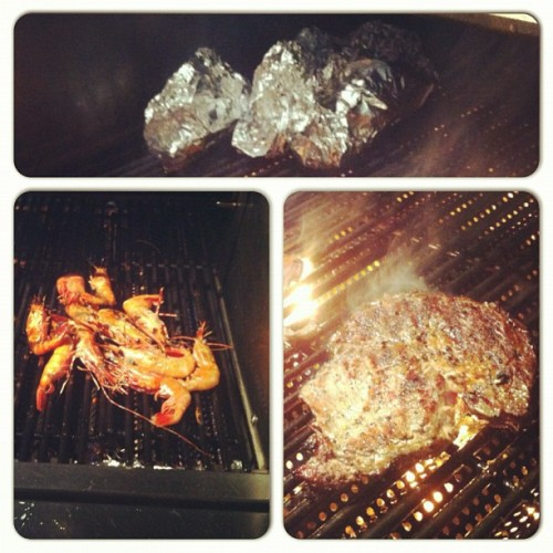 BBQ time for dinner with @ben_young  @mr_stevenfong @richardcao_  #foodporn #steak #shrimp #spinach #bbq #dinner #foodporn #yummy #delicious  (Taken with Instagram)