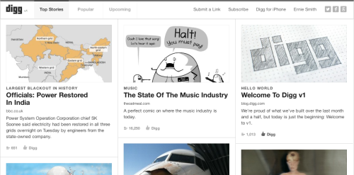 Thoughts on Betaworks' relaunched Digg? Pretty polished, simple, much more visual, not listy at all. The thumbs-up is still there, but it's de-emphasized. No comments, but they're apparently coming. A complete clean slate, with a thrown-away code base. Is Digg better without Kevin Rose? Was Betaworks' half-million purchase of the site worth it? And would you use it again?