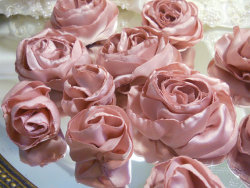 Bulk Flowers, Lot of 15 Beautiful Satin Roses handmade of Dusty Rose Satin.
