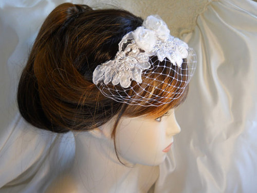 Reserved for Danielle, Bridal Birdcage Veil Hair Piece, will be made with ivory wedding lace, russian veiling and pearls.