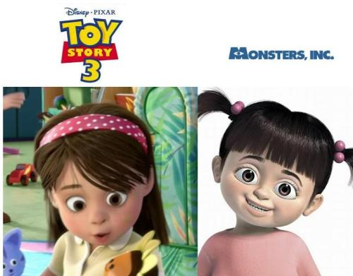 Awhhh gay-bow:  And Monster's Inc Character Boo made a Cameo in Toy Story 3