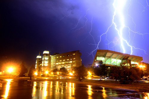 gofightwinvt:  Massive lightning strike over Virginia Tech's Lane Stadium. Still not as electrifying as that stadium will be come Sept. 3. Am I right? tackyshack:  Electrified Lane Stadium by CJY - Flash on Flickr. This is one of the biggest bolts I've ever seen.