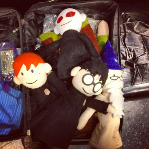 edwardspoonhands:  Dead in a suitcase. (Taken with Instagram)  This just ruins the magic, I'm crushed. Although I do like how Harry Puppets arms are extended in a way that makes it look like he's trying to cover Dumbledore puppets nakedity.