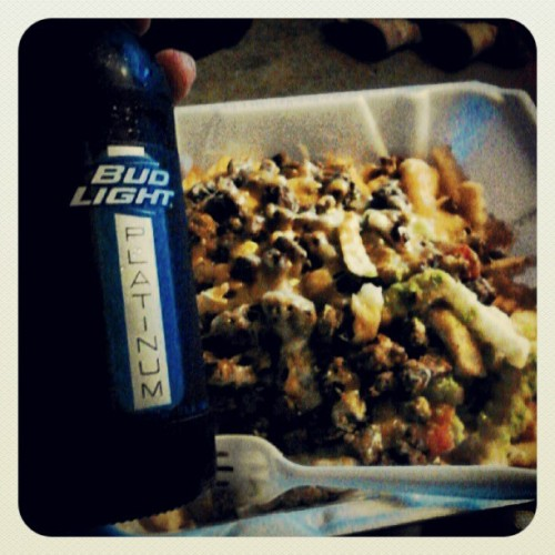 #CarneAsadaFries. And #beer for my #emo ass. #Fucklove (Taken with Instagram)