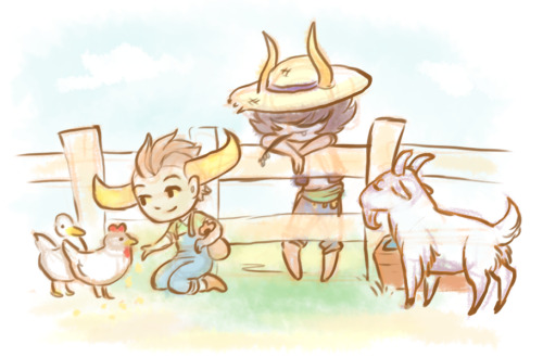 sasu-sama:  momostuck:  I was playin' some harvest moon I wish I could draw cute chibis dang  GAHH MOMO AGHSUDHF HS AND HM ?? nHHGHSDFSD ???/???!? best crossover pls, sob, these cuties ;A; ♥ tavros would be soooo happy with all those animals kawaii babies ♥  HS AND HM … and Tavros in flippin' overalls. Who wouldn't love this?