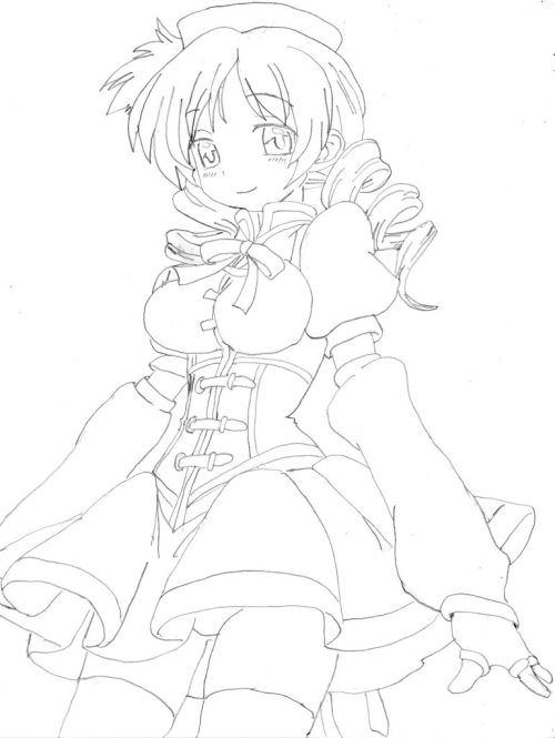 dead-or-rice:  (so here's some line art I did for Mami like a year ago for those wondering about my style. It's not great since I don't draw as often as I should, but it's something right?)  Freaking sexy! Nice drawings skills you have there!