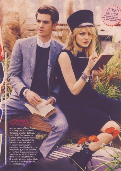 dinosaurman:  Emma Stone and Andrew Garfield in the August Issue of Teen Vogue 2/4