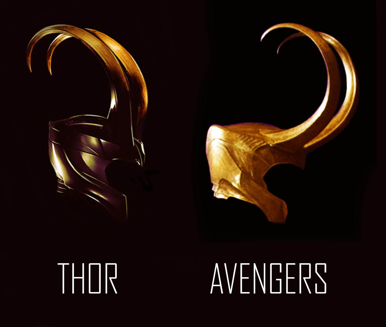 actuallybatman:  siguna:  Difference between Loki's helm in Thor and Avengers These come from two photos of very different quality so don't take this as a comparison in texture, color, etc; simply regarding the shape of the helm.  just waiting for someone to reblog with a 4 paragraph explanation of the connection between loki's feelings and his evolving helm