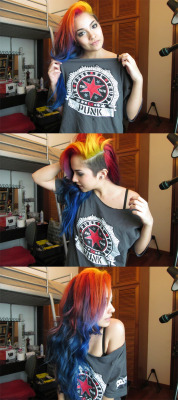 My CM Punk shirt and my rainbow hair :]