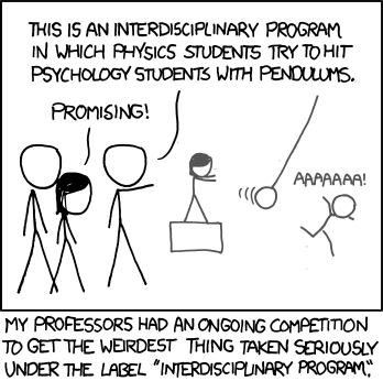 psychcomedy:  Interdisciplinary program between physics and psychology  Sounds like an excellent use of psychology students to me. Maybe we can get medical students in on this too, and they can work on trauma resuscitation in poly-trauma blunt injuries. :)