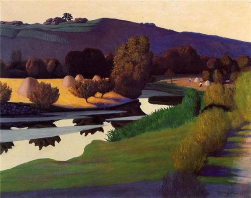 poboh:  Evening on the Loire, Félix vallotton. French Nabi Painter (1865 - 1925)