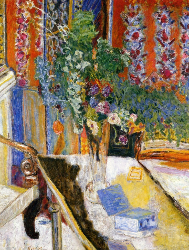 "Pierre Bonnard  |  Interior with Flowers, 1919 ""I am not sure whether the term ""vocation"" exactly applies to me. What attracted me then was less art itself than the artist's life, with all that I thought in terms of free expression, of imagination and liberty to live as one pleased … I wanted at all costs, to escape from a monotonous existence."" –Pierre Bonnard"