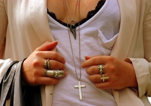 Bra,Cross,Fashion,H3rsmile.tumblr.com,Jacket,Jewellery,Necklace,Pretty,Rings,Ring,