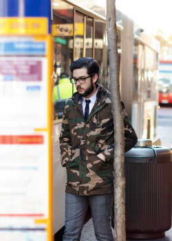 meninthistown: Camo in the city. Similar look: Suit Two Tone Fisherman Jacket.