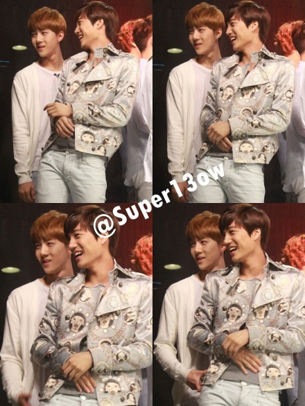 Sekai  moment ~ at Channel V Thailand  OMG.. in the last photo, Sehun touch Kai's waist??  Cr: @super13ow