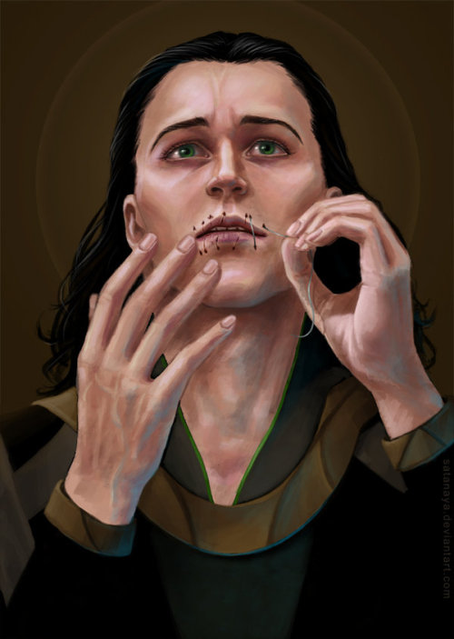 say-it-from-the-rooftops:  smilingoera:  Loki.by ~satanaya Loki drawing the thread out of his lips.  glorious art work
