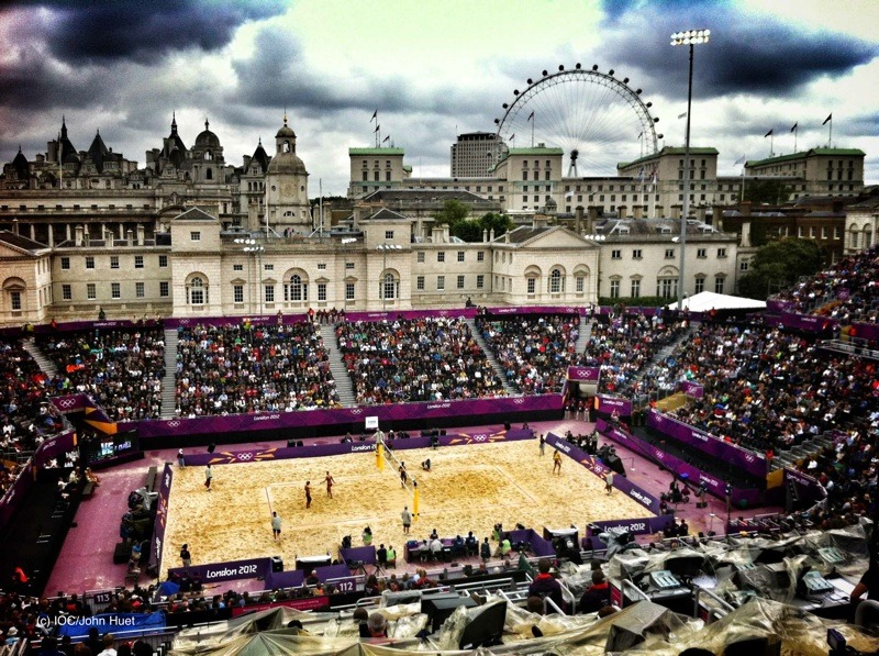 olympics:  The ultimate beach #volleyball court  Sarah Huffman [5:45 AM, London Time]Check out this amazing venue, Horse Guards Parade! We were here throughout the morning yesterday watching four different sand volleyball matches! If you haven't caught one on tv I highly recommend it. The games move pretty quickly and are very entertaining. They had us dancing and cheering the entire time! The crowd did the wave around the entire arena 23 times in a row. It was a little tiring! Could you imagine if FSU's sand volleyball matches were like this?!