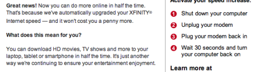 Hmm Comcast? I wonder if this means I now have 100Mb internet now?