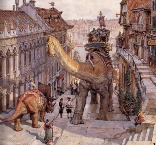 From James Gurney's Dinotopia. The man is a master of light and shadow.