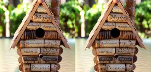 Birdhouse made out of corks! Follow us on Tumblr/ more on recycling