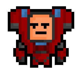 "The Gunner, the heavy armoured walking turret and longtime pro of the insanely fun ""Super Monday Night Combat"" online game, now given his own very special 22 x 24 pixel resolution.  Cool, Brah.  If you have Steam, go ahead and check out Super Monday Night Combat ! It's actually one of my favourites. Oh, and it is FREE !"