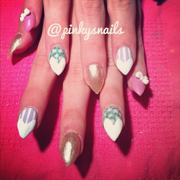 Stiletto nail heart tips by Esther ! (Taken with Instagram)