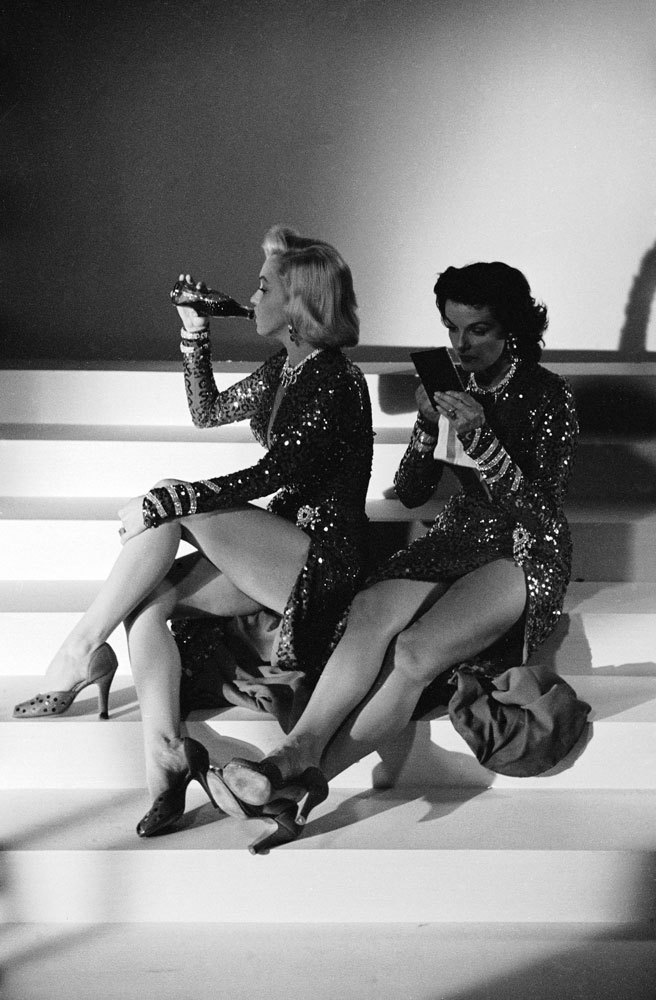 life:  Not originally published in LIFE: Marilyn Monroe and Jane Russell on the set of 1953's Gentlemen Prefer Blondes. See more photos from the set here.