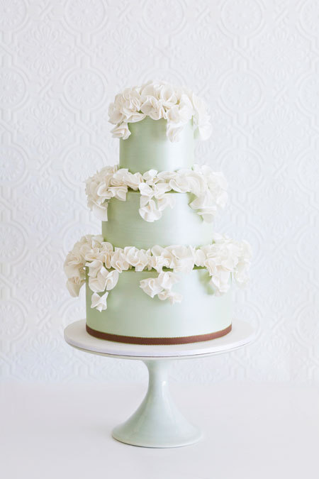 Mint Green Wedding Cake with Ivory Ruffles | Browse more wedding cakes | Brides.com