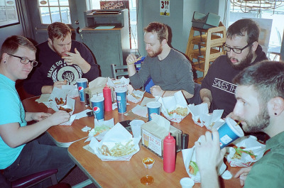 TWY Eating Wingin' It on Flickr. Photo Credit: Ryan Wapner Location: Denver, CO Date: March 20, 2012 Things Featured in Photo: The Wonder Years, Wingin' It Camera: Olympus AX 2 Lens: Olympus D-Zuiko 35mm f/3.5 Focal Length: 35 ISO: 800 Film Stock: Kodak Ultramax 800