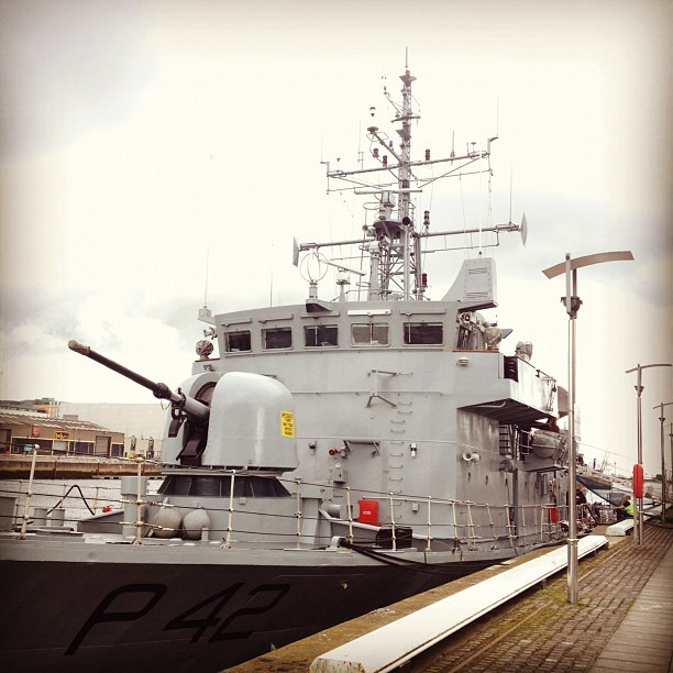 Naval vessel outside the office building #irishnavy (Taken with Instagram at Sir John Rogerson's Quay)