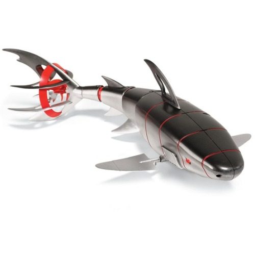thekhooll:  Remote Controlled Robotic Bull Shark This unique robotic shark has a full-range of motion to replicate the smooth, sleek swimming of one of nature's most efficient predators. It is able to gracefully maneuver up, down, left, right, and even backwards through water, in depths up to 9'.   Wow amazing