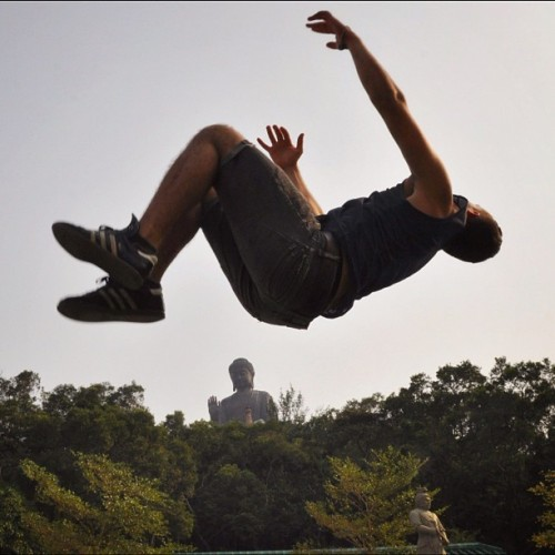 Buddha Backflip. Flipping over the Tian Tan Buddha in Hong Kong.  (Taken with Instagram at Tian Tan Buddha (Giant Buddha) 天壇大佛)
