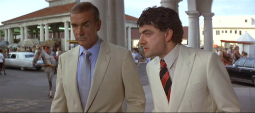 Nigel Small-Fawcett Sean Connery and Rowan Atkinson in Never Say Never Again, or Johnny English in training.