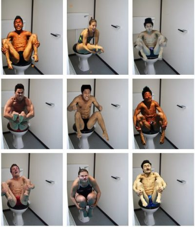 funny-pictures-uk:  Olympic divers on the toilet [via]. also see here.  They need more Fiber!
