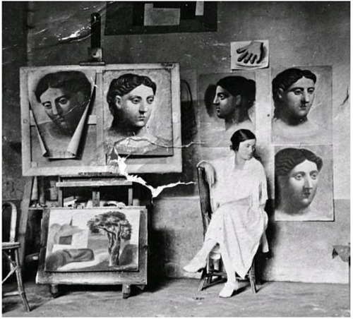 sashastergiou:    Olga in Picasso's studio Olga Khokhlova (June 17, 1891 – February 11, 1954) was a Ukrainian-Russian dancer, better known as the first wife of Pablo Picasso and the mother of his son, Paulo.
