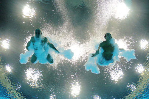 Peter Waterfield, left, and Tom Daley of Great Britain during the synchronized 10-meter platform dive. The pair placed fourth.  Probably the only photo of Tom Daley that I find remotely interesting.