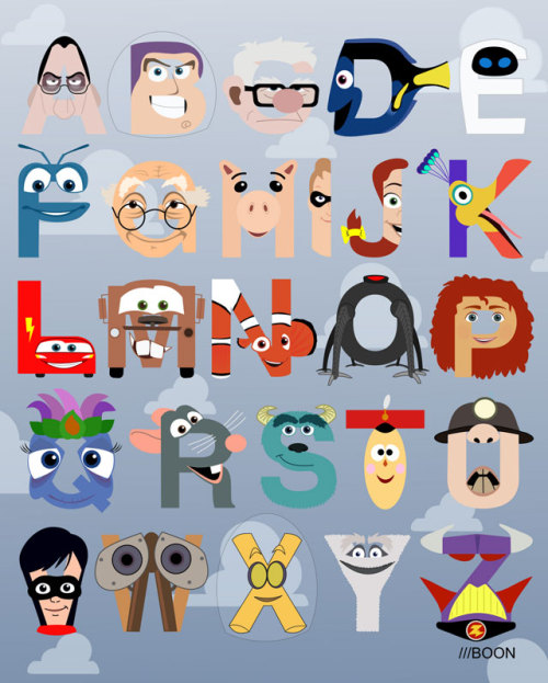 laughingsquid:  P is for Pixar, A Pixar-Themed Alphabet by Mike Boon