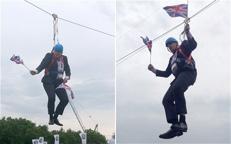 "Olympic Gaffe of the Day: London Mayor Boris Johnson took a break from watching Olympic competition today to ride a zip line, but when it ground to a halt midway, Johnson was left dangling above passersby for more than five minutes. Ever the good sport, he waved his Union Jacks and led the audience in cheering on his country's gold medal-winning rowers. He promised spectators he was feeling ""very, very well thank you,"" before shouting: ""Get me a rope, get me a ladder."" ""It's very, very well organized,"" he said. ""It's going well so far. Right."" [telegraph]"
