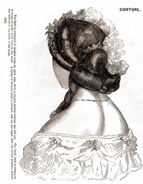 treselegant:  'Coiffure.' Godey's Lady's Book, April 1865.