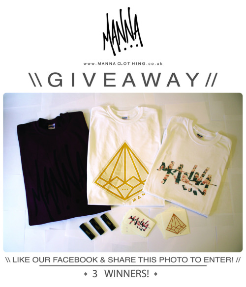 mannaclothing:  \ MANNA CLOTHING GIVEAWAY //We are giving away all these items in the image!Giveaway Includes: Maroon/Black crew neck sweater (Only one's ever to be printed!)Gold Diamond T-shirt,Graffiti Roses T-shirt,3x Lighters,Stickers!There will be 3 lucky winners!1st = Sweater, Lighter & stickers.2nd = Graffiti Roses T-shirt, Lighter & stickers.3rd = Gold Diamond T-shirt, Lighter & stickers.Simply **LIKE OUR FACEBOOK, & SHARE THE PHOTO** to enter!!Giveaway is over Facebook & Tumblr, So Reblog the post on Tumblr for a better chance of winning![Winners will be picked at random and checked to have entered properly.]Winners will be announced on Sunday 12th August 2012.www.MannaClothing.co.uk
