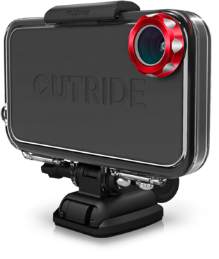 New Outride By Mophie Turns Your iPhone Into a GoPro Like Sports/Action Camera. OUTRIDE is a hardware and application solution that puts the power to record and share tricks, tracks, rides and epic moments in the hands of action land and water sports enthusiasts, using only their iPhone. OUTRIDE is waterproof and impact resistant and comes bundled with a variety of custom modular quick-release mounts to capture action shots in the surf, snow, dirt or street. OUTRIDE hardware integrates a wide-angle lens with a 170 degree viewing angle that's optimized for recording all your tricks, tracks, rides and epic outdoor moments.  Using the OUTRIDE App, you can follow and interact with other riders and professional athletes while watching the latest rides from around the globe. Users can create customized playlists that automatically grab the latest and greatest content where and when you want it.