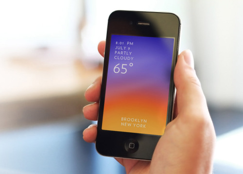 I just downloaded this new weather app called Solar, a hyper-sensorial, interaction display of the day's weather. The design is simple and all of the information you need is laid out in white over a beautiful gradient that does different things based on the weather conditions. For rain the app responds appropriately, rain drops and lightning flashes on the screen. Also, when you drag your finger up towards the top fo your screen you'll get a 24 hour forecast, minute by minute and hour by hour.