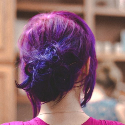 colorful purple hair!